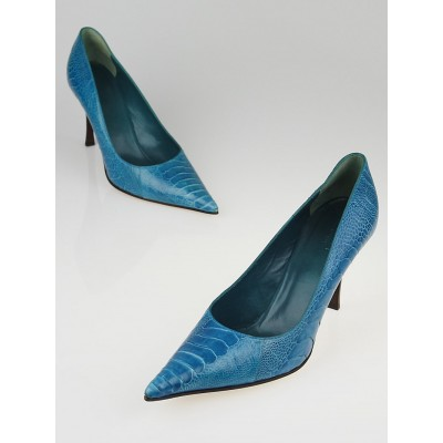 Gucci Blue Ostrich Leather Pumps Size 10B