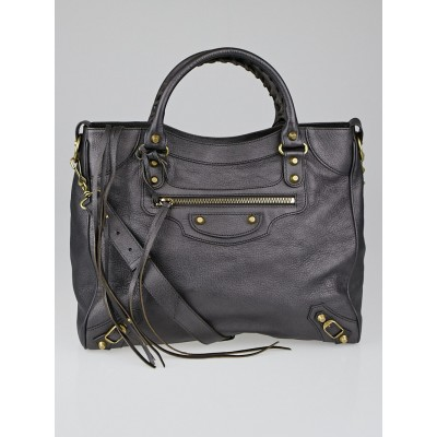Balenciaga Metallic Grey Holiday Grained Chevre Leather Velo Bag