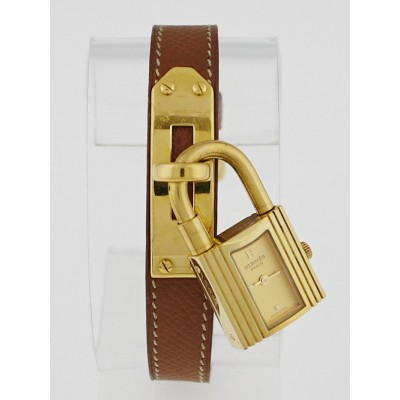 Hermes Gold Courchevel Leather Gold Plated Kelly PM Watch