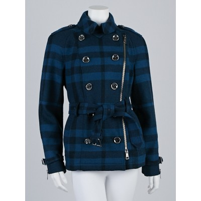 Burberry Brit Blue Plaid Wool Blend Short Pea Coat Size 10