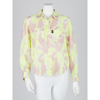Louis Vuitton Neon Camouflage Cotton/Poly Blend Blouse Size 8/42