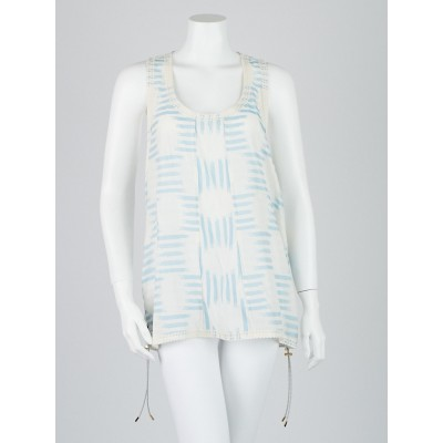 Louis Vuitton Blue/White Cotton Blend Sleeveless Blouse Size 8/40