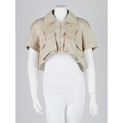 Louis Vuitton Cotton Blend Beige Cropped Jacket Size 10/42