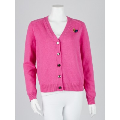 Louis Vuitton Pink Cashmere Rear Zip Cardigan Sweater Size Large