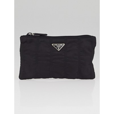 Prada Black Quilted Tessuto Nylon Flat Cosmetic Pouch