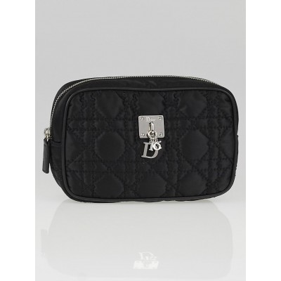Christian Dior Black Cannage Quilted Nylon Charm Trousse Cosmetic Bag
