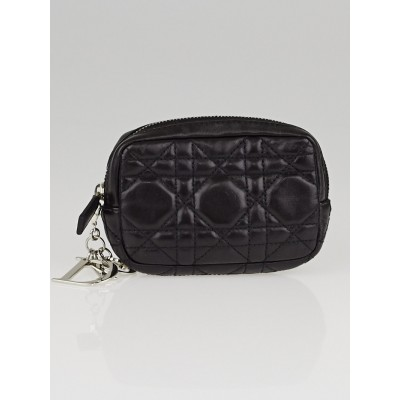 Christian Dior Black Cannage Quilted Leather Small Square Pouch