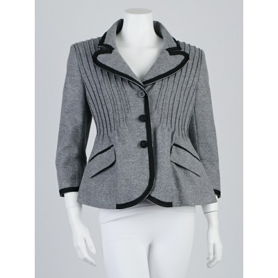 Louis Vuitton Grey Wool Swing Jacket Size 10/42