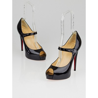 Christian Louboutin Black Patent Leather Jane Vendome 120 Pumps Size 9.5/40