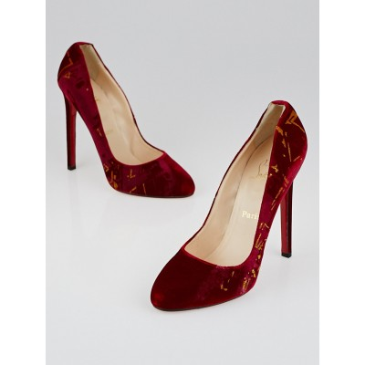 Christian Louboutin Red Velvet Clichy Tag 120 Pumps Size 10.5/41