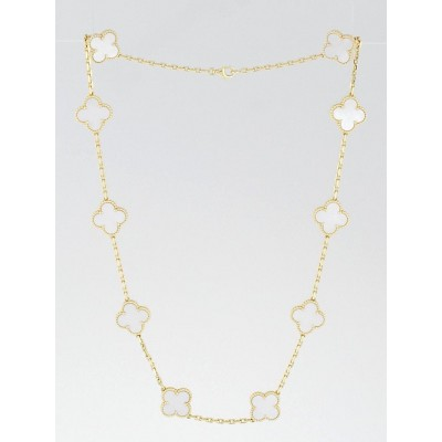 Van Cleef & Arpels 18k Gold and Mother-of-Pearl Vintage Alhambra 10 Motif Necklace