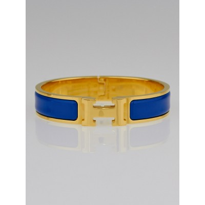 Hermes Blue Intense Enamel Gold Plated Clic H PM Narrow Bracelet