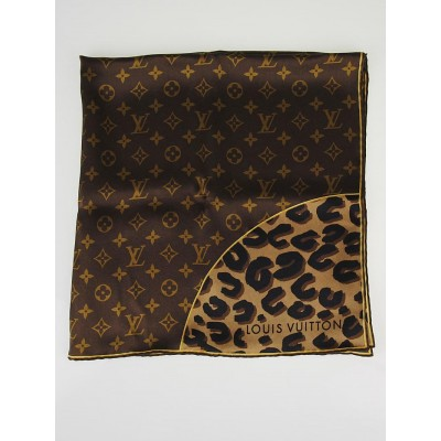 Louis Vuitton Monogram Leopard Silk Square Scarf