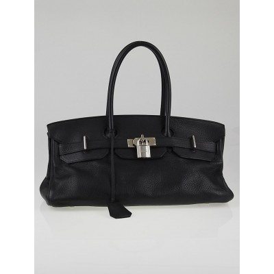 Hermes 42cm Black Clemence Leather Palladium Hardware JPG Shoulder Birkin Bag