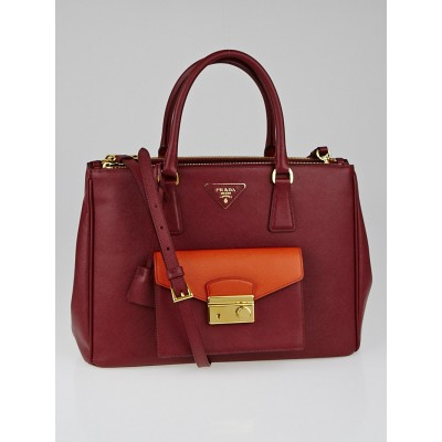 Prada Cerise / Papaya Bi-Color Saffiano Lux Leather Pocket Tote Bag BN2674