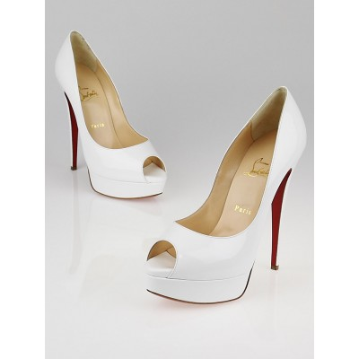 Christian Louboutin White Patent Leather Lady Peep 150 Pumps Size 9/39.5
