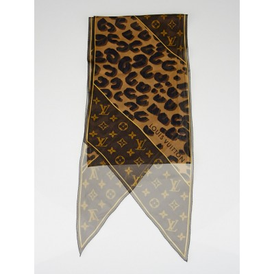 Louis Vuitton Leopard and Monogram Crepe Silk Scarf