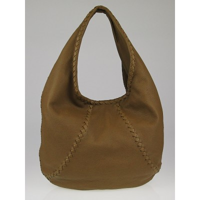Bottega Veneta New Bronze Cervo Leather Large Baseball Hobo Bag