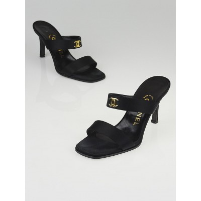Chanel Black Satin CC Open-Toe Slide Mule Heels Size 5/35.5