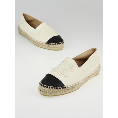 Chanel White/Black Lambskin Leather CC Espadrille Flats Size 7.5/38