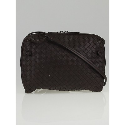 Bottega Veneta Ebano Intrecciato Woven Nappa Leather Messenger Bag