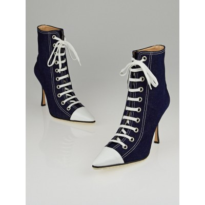 Manolo Blahnik Blue Denim Lace Up Ankle Boots Size 10/40.5
