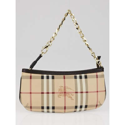 Burberry Chocolate Haymarket Check Coated Canvas Anabel Wristlet Clutch Bag