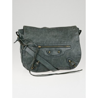 Balenciaga Anthracite Lambskin Leather Folk Messenger Bag