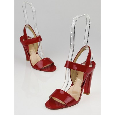 Christian Louboutin Red Patent Leather Etrier 100 Slingback Sandals Size 6.5/37