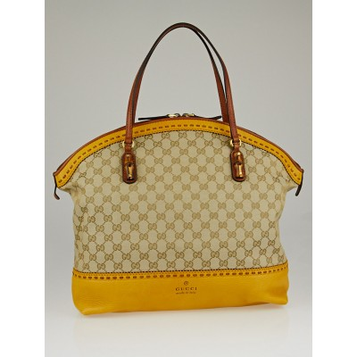 Gucci Beige/Yellow GG Canvas Laidback Crafty Top Handle Tote Bag