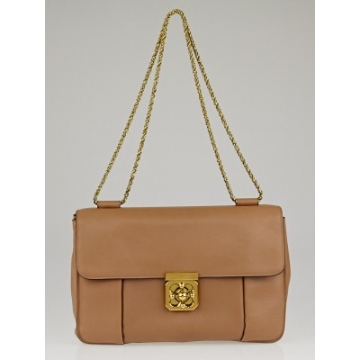 Chloe Nut Calfskin Leather Large Elsie Chain Flap Shoulder Bag