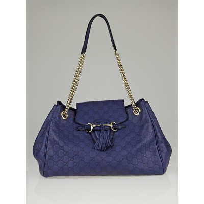Gucci Purple Guccissima Leather Emily Large Shoulder Bag