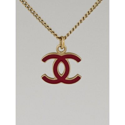 Chanel Red Enamel CC Pendant Necklace