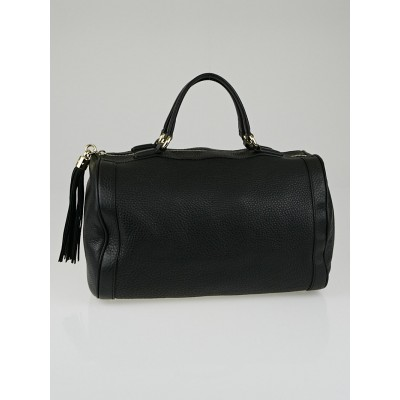 Gucci Black Pebbled Leather Soho Boston Bag