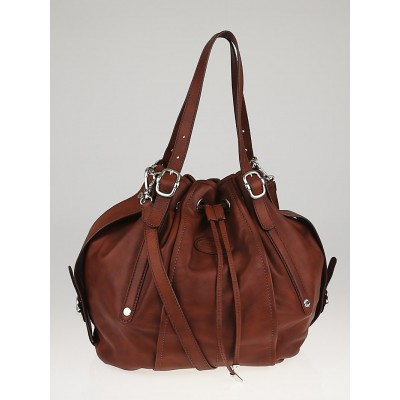 Tod's Brown Leather G-Line Easy Medio Drawstring Secchiello Bag