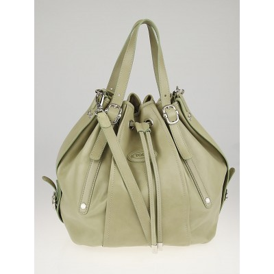 Tod's Light Green Leather G-Line Easy Medio Drawstring Secchiello Bag