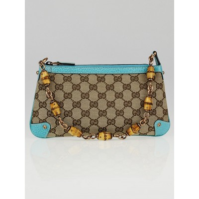 Gucci Beige/Blue GG Canvas Bamboo Accessories Pochette Bag