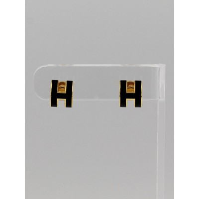 Hermes Black Lacquer Gold Plated Pop H Earrings