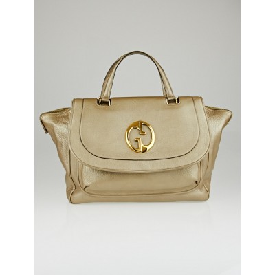 Gucci Metallic Gold Pebbled Leather '1973' Large Top Handle Tote Bag
