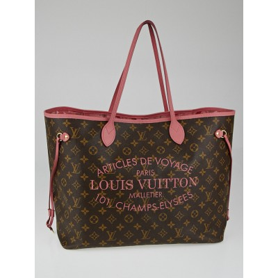 Louis Vuitton Limited Edition Rose Velours Monogram Ikat Neverfull GM Bag