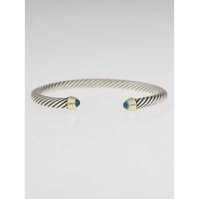 David Yurman 5mm Sterling Silver and Blue Topaz Cable Classics Bracelet