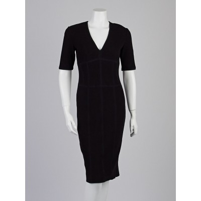 Burberry London Black Cotton Blend Knit V-Neck Dress Size 6