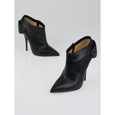 Christian Louboutin Black Nappa Leather Huguette 120 Ankle Boots Size 7/37.5