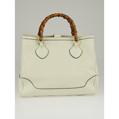 Gucci White Pebbled Leather Bamboo Diana Top Handle Tote Bag