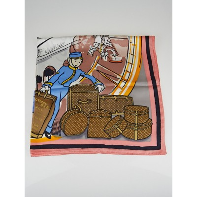 Louis Vuitton Rose Poudre LV Groom Square Silk Scarf