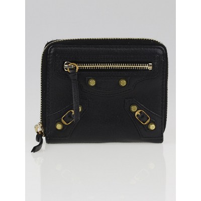 Balenciaga Black Holiday Grained Chevre Leather Compact Wallet