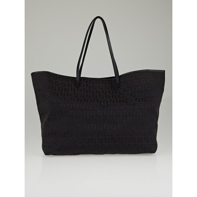 Fendi Black Zucchino Print Canvas Large Tote Bag