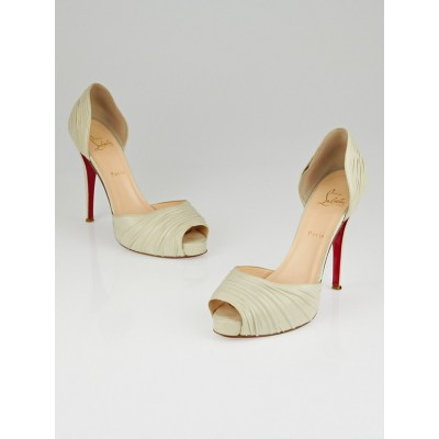 Christian Louboutin White Leather Turbella D'Orsay 120 Pumps Size 10.5/41