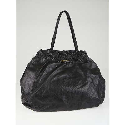 Prada Black Nappa Antique Leather Shopping Tote Bag BR4219