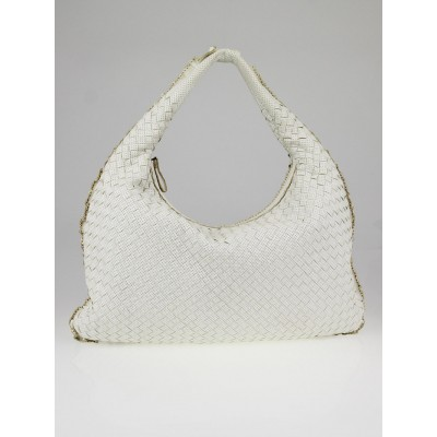Bottega Veneta White Perforated Intrecciato Woven Nappa Leather Large Veneta Hobo Bag